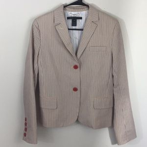 Marc Jacobs red and blue pinstriped blazer
